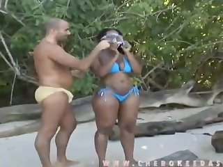 Charming jet-black female featuring amazing interracial sex video outside