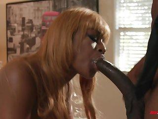 Curvy and busty ebony MILF Evi Rei fucked by a big black dig up