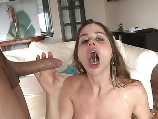 Blonde battle-axe Cathy Heaven loves two cocks at intervals and cum