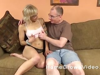 Tattooed blonde takes retire from her panties and rides an old guy's dick