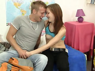 Eighteen year old teen babe Kristina Bell anent a coarse lay fuck