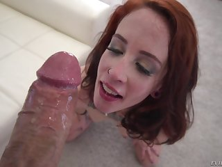 Sloppy blowjob followed by a huge cumshot for redhead Lilyan Red