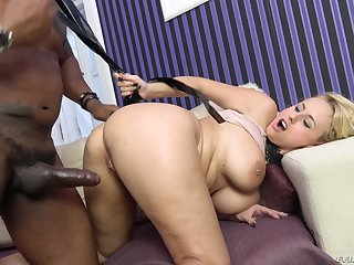 Chesty blonde Angel Wicky rides a louring dick and gets cum unaffected by tits