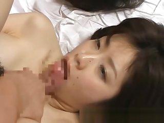 Asian chick slurping sperm