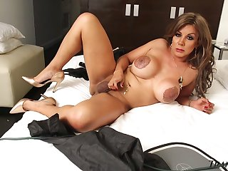 Big tittied tranny with tattooed nipples Naomi Chi shows stay away from stretched rump hole