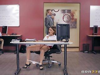 Office missionary fuck added to cum on boobs for secretary Krissy Lynn