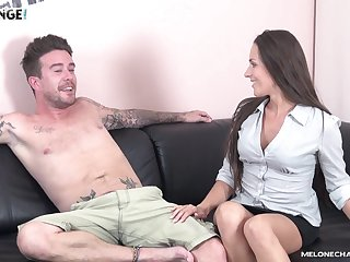 Mea Melone spreads her legs round get fucked and opens her mouth for cum