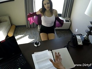 Definitive POV scene featuring secretary Ashley Adams at a job interview