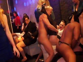 Closeup inferior partybabes in organize orgy fun