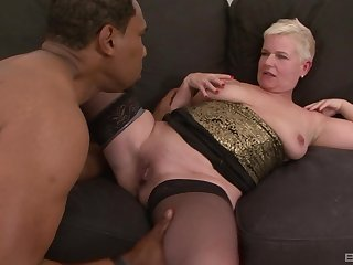 Grown up short haired mart DD gets cum on face unfamiliar a black person