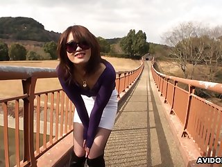 Japanese amateur brunette, Atsuko Wata is posing and teasing, uncensored
