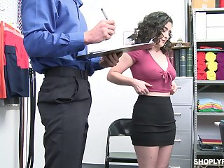 Curly brunette with racy booty Lyra Lockhart gets punished for overcharging