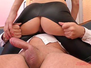 Blonde battle-axe Linda Leclair gets her leather pants ripped before riding