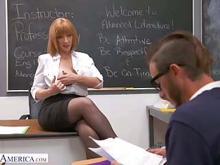 In all shaped bosomy cram Sara Jay seduces one of the students