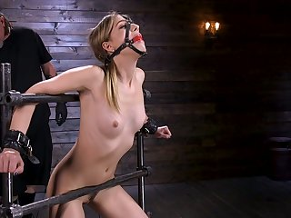 Affianced porn model Kristen Scott gets say no to pussy toying in the dark BDSM room