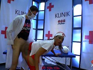 Sexy black nurse taking cumshots from ashen dicks