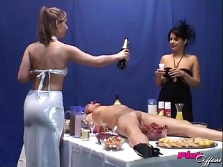Katrin and Nicole wants hither play kinky lesbian games with four more unladylike