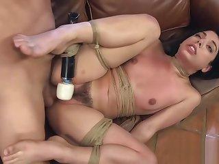 Hairy pussy babe nigh bondage hard fucked