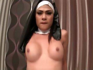 Sexy Tranny Anita Nun Bareback Fucking