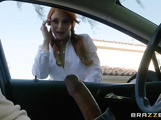 Redhead MILF whore Giselle Palmer wants cum overhead face after anal