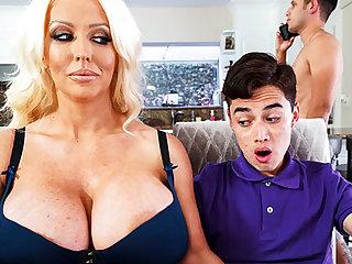 Busty stepmom interested nigh taste schoolboy's dick