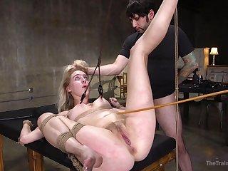 Perky peaches babe Stress Lux gets a rough bondage talisman fuck
