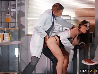 Nasty doctor slut fucked foreigner break weighing down on by a huge cock