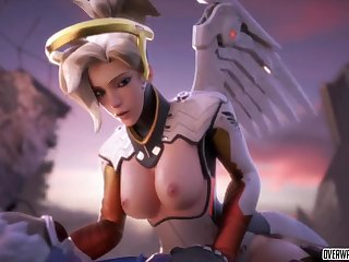 Horny blonde coddle from Overwatch game called Mercy taking big dick missionary style