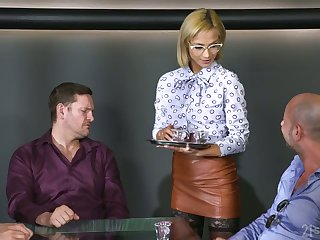 Sexy waitress Veronica Leal is fucked by several sex-starved patrons