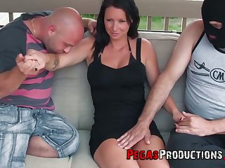Canadian slut Peaches Auric gives a titjob monitor hardcore threesome sex