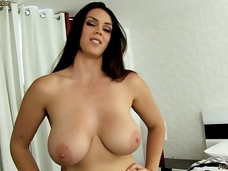 Sensual dark-haired at hand fat funbags, Alison Tyler luvs on touching deep-throat meatpipe increased by taste some new jizm
