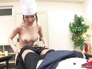 Pissing Japanese girl swallows a dick with ease
