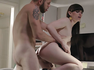 Slender dark hair girl shemale got assfucking humped in a office