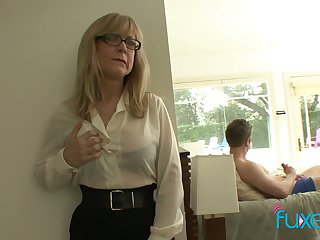 Mature fake tittied stepmom caught say no to stepson jerking lacking hard big cock