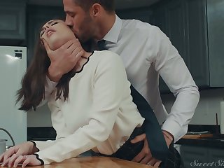 Insatiable husband is fucking sexy wife Casey Calvert in the kitchen