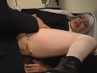 Shameless nun anal fucked up her abbey
