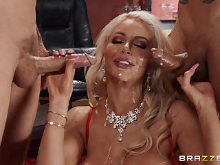 Blonde Nicolette Shea loves to feel delight by one cocks at level pegging time