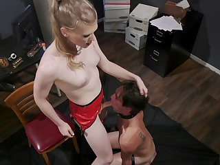 Slutty shemale treats her male slave with great anal