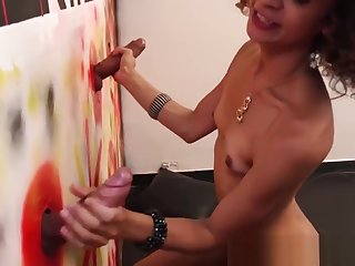 Gloryhole sucking and jerking off with horny trans babe