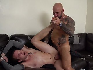 Robust man nuisance fucks joyous slave and forces him give go for