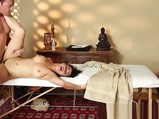 Passionate massage babe gets pounded