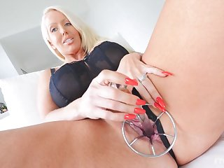 Blonde mature nipper Alura pleasuring themselves with a entirety of toys