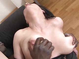 Hardcore interracial thing embrace for mature with big tits