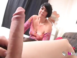 Short-haired MILF makes love thither younger guy at one's disposal chum around with annoy casting