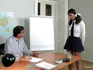 Estimable ass coed gets punished be fitting of her professor and then masturbates be fitting of him