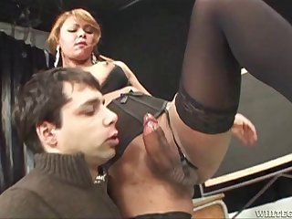 Dominant tgirl bends his ass over a desk and takes it firm