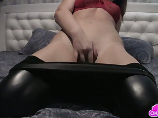 Blackness with leather tights masturbates