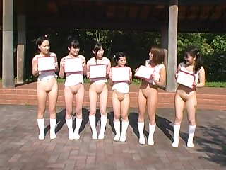 Bottomless Japanese Girls Do Some Outdoors Sports