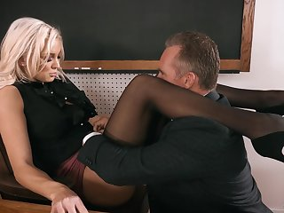 Strict looking busty blonde principal Kenzie Taylor lures dude to dear one mad
