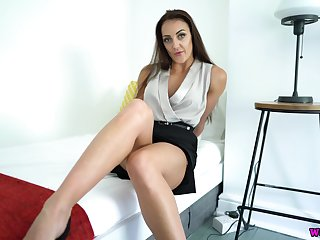 Flirtatious curvy brunette Cleo Summers pulls skirt up to tease her wet pussy